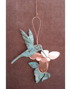 Hummingbird Copper Verdigris Ornament