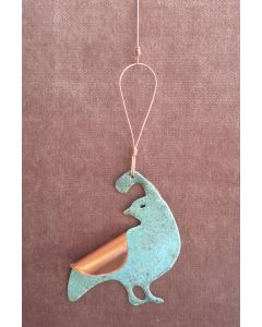 Quail Copper Verdigris Ornament