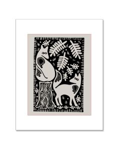 Letterpress Coyote Matted Print