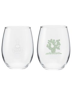 Letterpress Print Stemless Wine Glass