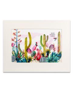 Watercolor Cactus Matted Print