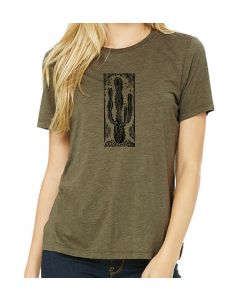 Ladies Letterpress Cactus Tee
