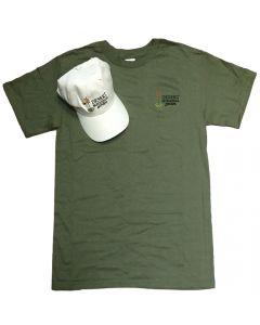 Garden Logo Green Tee/ White Cap Combo