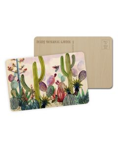 Watercolor Cactus Wooden Postcard